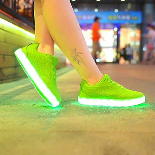Flashing para Zapatos Up Verde USB Luminous Unisex Shoes Hombres SEVENWELL Light Mujeres Led Sneakers Charging HzYPqvq