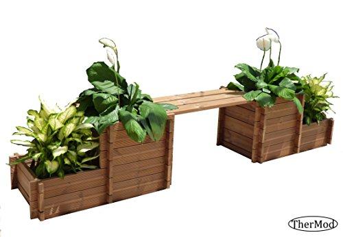 Organic gardening wood Planter Box Bench / Table TherMod ...