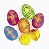 Religious Easter Eggs. Celebrate Easter with these plastic eggs! Featuring an inspirational cross design these 2 3/8 colorful eggs are ideal for a church or Sunday School egg hunt! (6 dozen eggs per unit) OTC