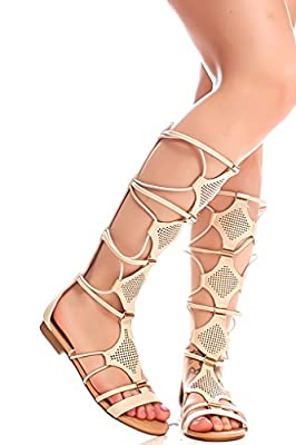 Lolli Couture Forever Link Faux Leather Material Back Zipper Multi Cutout Design Open Toe Knee High Sandals