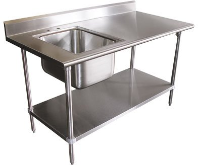 """X Work Table With Right Sink, 72"""" x 30"""" - Advance Tabco KMS-11B-306R"""