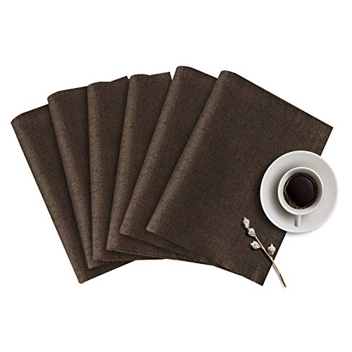 subrtex Linen Placemats for Dinning Room Set of 6 Slubbed Woven Non-Slip Insulation Square Washable Table Mats(Chocolate) (Placemats Table For Small Square)