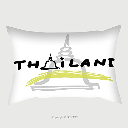 Custom Satin Pillowcase Protector Thailand Travel Poster Cartoon Vector 242162680 Pillow Case Covers Decorative by chaoran