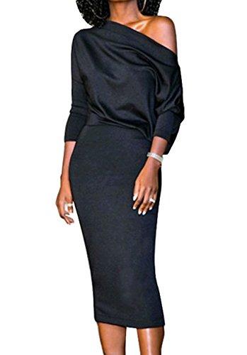 Nero Vestiti Oufour Bodycon Maniche Slim 4 Eleganti Spalla Lnvernali Sexy Cerimonia Festa Lunghi Dalla Midi Nuda Stretti Matita Autunno Cocktail Abiti 3 Vestito Donna 5L4Rqj3A