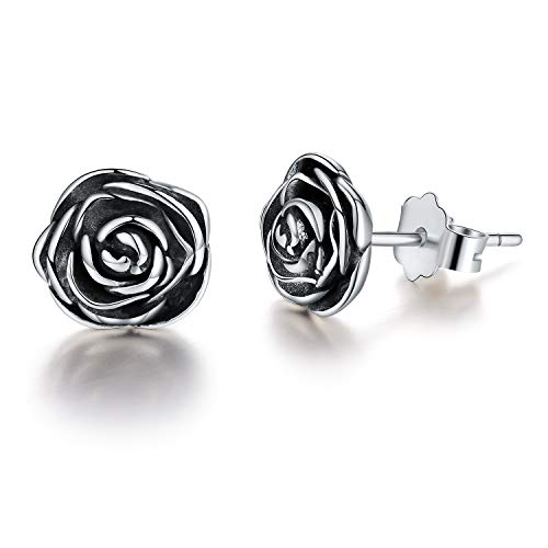 Esberry 18K Gold Plating 925 Sterling Silver Rose Stud Earrings Hypoallergenic Flower Earrings Jewelry for Women and Girls (Antique Silver) ()