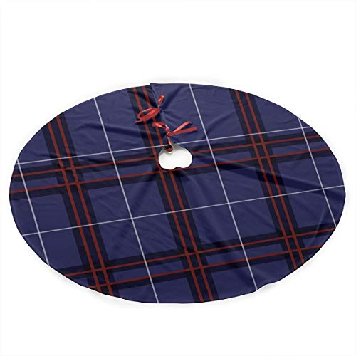 Annieee Scottish Tartan Plaid Christmas Tree Skirt Xmas Holiday Decoration