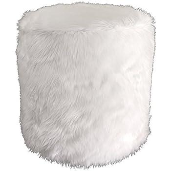 Amazon Com Metje Faux Fur Pouf Ottoman 17dia X 17h