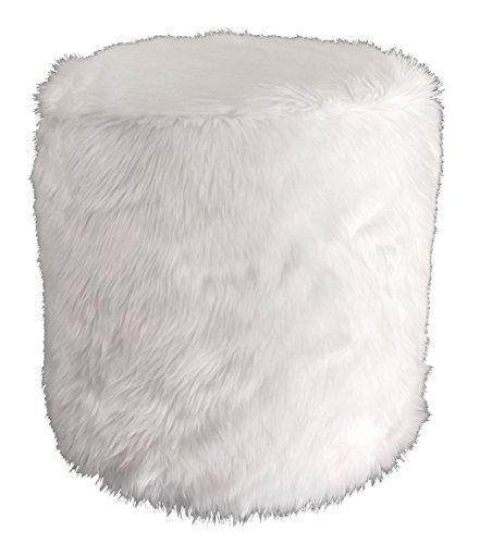 Metje Faux Fur Pouf-Ottoman, 17Dia x 17H, White