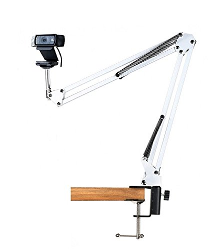 Desk Clamp Mount Suspension Boom Scissor Arm Tripod Stand Holder for Logitech Webcam C922 C930e C930 C920 C615-white (Boom For Camera)