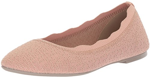 Skechers Women's Cleo-Dots-Scalloped Collar Engineered Knit Skimmer Ballet Flat, Light Pink, 6 M US Dot Skimmer