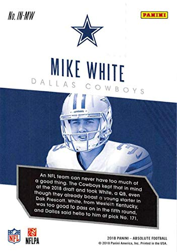 d67faeeda18 Amazon.com: 2018 Absolute Football Introductions #13 Mike White Dallas  Cowboys Official NFL Trading Card made by Panini: Collectibles & Fine Art