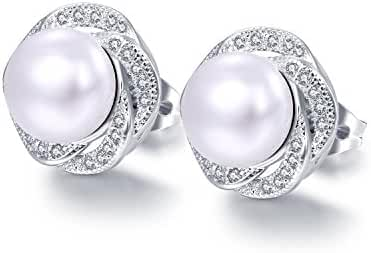 Copper Plated Platinum Artificial Pearl Stud Earring for Women