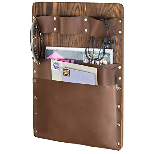 MyGift Wall-Mounted Rustic Wood & Leatherette 2-Slot Mail Sorter & Magazine Holder