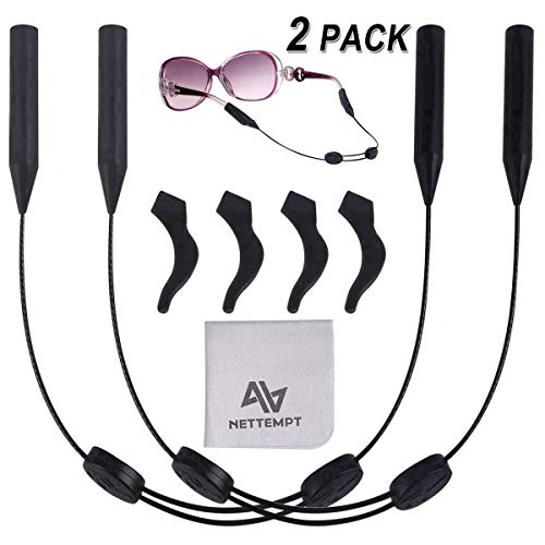 NETTEMPT Glasses Straps Adjustable Eyewear Retainer (2 Pack) - No Tail Sunglasses Strap - Eyeglass String Holder with 4 Anti-Slip Hooks and 1 Pack Glasses Cloth
