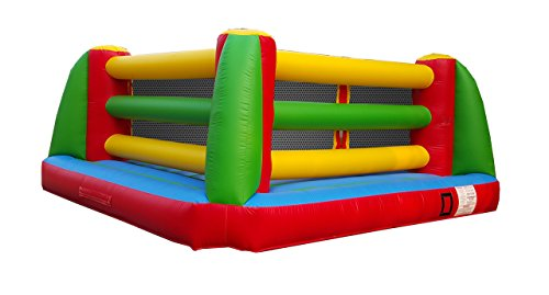 Bouncy Inflatable Interactive Commercial Grade Boxing Ring, 18' Long by 18' Wide, 1.0 HP Blower, Stakes, 2 Protective Helmets & Boxing Gloves (Red, Blue) for Parties, Events, and Rental