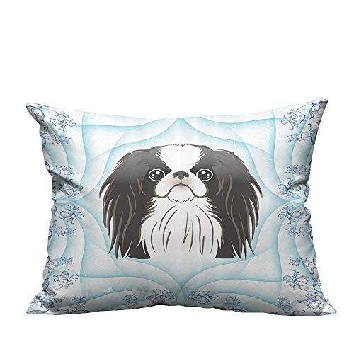 Print Bed Pillowcases Chin Dog Hairy Black and White Puppy Blue Carto Animal for Kids Boys Girl Washable and Hypoallergenic 19.5x54 inch(Double-Sided Printing)