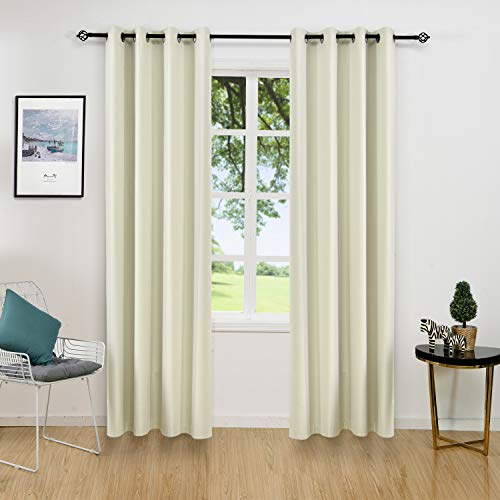 - ALLBRIGHT Thermal Insulated Curtains Blackout Draperies, Window Treatment Solid Grommet Room Darkening Drape Panels for Bedroom (2 Panels, 52 x 96, Cream White)