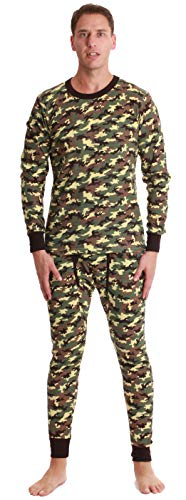 At The Buzzer Mens Printed Thermal Set 95966-GRN-S Camouflage