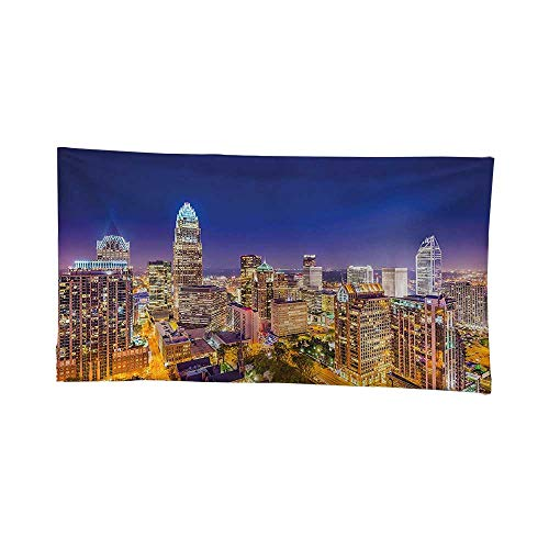 - Tapestry Wall Hanging (60W x 40L Inch) Home Decorations Bedroom Dorm Modern Decor Panoramic North Carolina Uptown Sky at Night Cityscape Luminous Town Picture Indigo Orange.