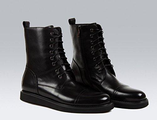 Herren Lederschuhe Herren Leder Stiefel Tide Tooling Martin Stiefel britischen Stil Lace Cowboy Armee Stiefel Herrenschuhe ( Farbe : Schwarz , größe : EU 41/UK7 ) Schwarz