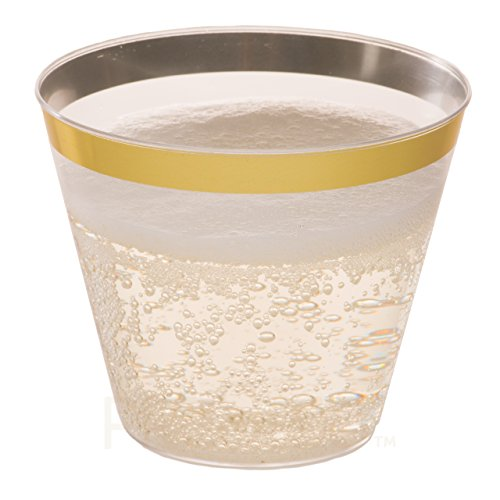 Old Fashioned Tumblers Fancy Plastic Wedding Cups With Gold Rim 50 Ct Disposable For Party Holiday and Occasions SUPER VALUE PACK Prestee DRINKET Gold Plastic Cups 9 oz Clear Plastic Cups