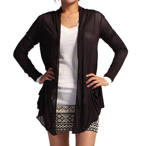 Light Weight Flyaway Cardigan Shawl Collar Shrug with Drape Pockets Cardi (Large, Black)