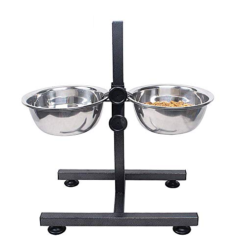 - XMSG Raised Dog Bowls Adjustable Double Diner with 2 Stainless Steel Bowls for Large Dogs