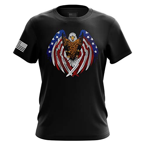 Tactical Pro Supply American Flag Military Army Mens T Shirt (USA Wings, Small)