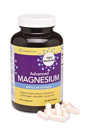 InnovixLabs Advanced Magnesium with High Absorption Malate and Glycinate. Highly Bioavailable Chelated Magnesium - 200 mg per Serving. Soy and Gluten-Free, Non-GMO and Vegan. 150 Capsules.