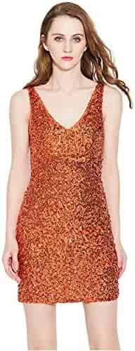 Etosell Women Deep V Neck Sequin Gilter Stretchy Bodycon Party Club Mini  Dresses 9918ecf61