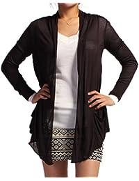 Women's Drape Pockets Light Weight Flyaway Long Sleeves Cardigan
