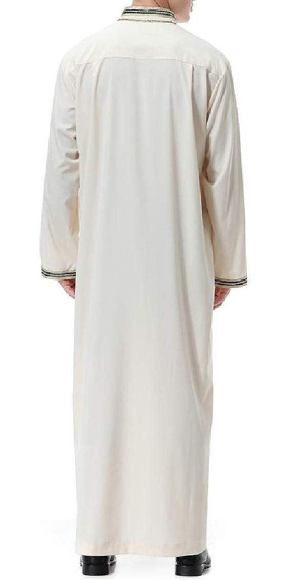 Hajotrawa Mens Simple Patchwork Stand Collar Saudi Abaya Long Muslim Dubai Robe