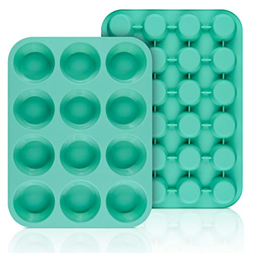 SJ European LFGB Silicone Muffin Pan, Mini 24 Cups and Regular 12 Cups Cupcake Pans, Food Grade Silicone Molds for Baking, Mint Green, Non-Stick & BPA Free, Pack of 2