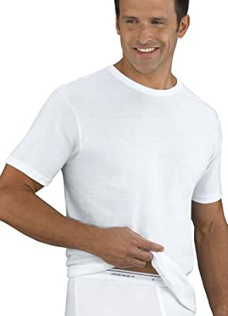 Mens Underwear Tall Man Tag-Free Crew Neck T-Shirt- 2 Pack, white, 4XLT