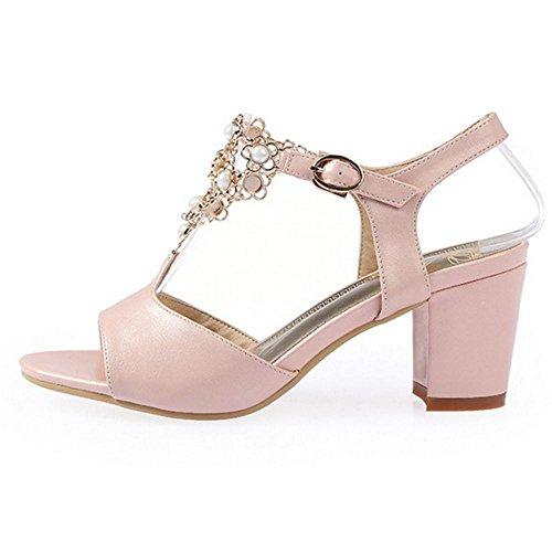 Donna Pink Blocco Sandali Tacco TAOFFEN Casual dqwUPX4