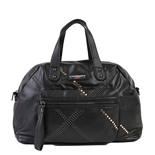 Nikky Women's Top Handle Black Studded Boston, Detachable Shoulder Strap Travel Bag, One Size (Boston Studded Bag)