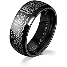 Chryssa Youree Men Women's 8MM Black & Gold Plated Stainless Steel Ring Muslim Jewelery Band with Shahada 7 to 12 (SZZ-024) (Size 11, black)