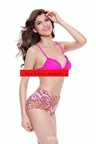 Ailin home- Bikini de dos piezas de mujer conjunto traje de baño de cuello halter bajo cintura Pink