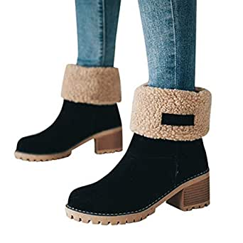 Amazon.com: Gyoume Winter Ankle Boots,Women Keep Warm Mid