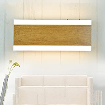 LED Moderna Lámpara de Pared。Sala de estar lámpara de pared dormitorio lámpara de cabecera escalera luz imitación madera grano arte baño espejo faros, luz neutral corta/luz blanca cálida: Amazon.es: Iluminación