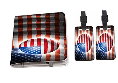 Rikki Knight Brazil World Cup 2014 USA Team Football Soccer Flag Design Passport Holder + 2 Matching Luggage Tags