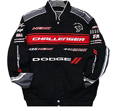 - 2017 Dodge Challenger Collage Mens Black Twill Jacket by JH Design (3XL)