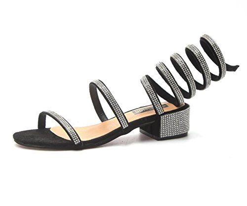 Sky-Pegasus 2018 Snake Women Summer Shoes Crystal Around Gladiator Sandal Women Boots 35-39,Black,5