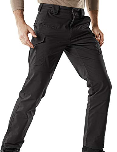 CQR Men's Tactical Pants Lightweight EDC Assault Cargo, Flexy Cargo(tfp513) - Black, 38W/30L