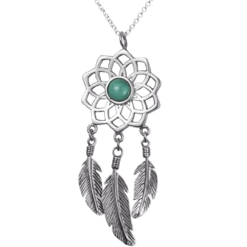 The Best Dreamcatcher Pendant Necklace, 925 Sterling Silver 18 inch necklace with a Dreamcatcher with Feather and a Turquoise (Lightweight Turquoise Necklace)