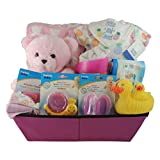 Baby Girl Gift Basket/Baby Shower Gift: Fleece Blanket, Cotton Onesie, Shampoo Rinser, Rubber Ducky Set and more.