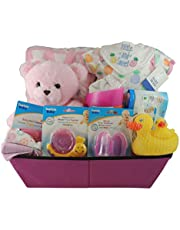 Baby Girl Gift Basket with Bear/Baby Shower Gift: Fleece Blanket, Cotton Onesie, Shampoo Rinser, Rubber Ducky Set and more.
