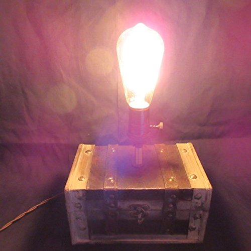 Edison Box Lamp #3 ~ Handmade, Nostalgic, Vintage-Style, Steampunk, Table Lamp w/Storage for Jewelry and other Treasures