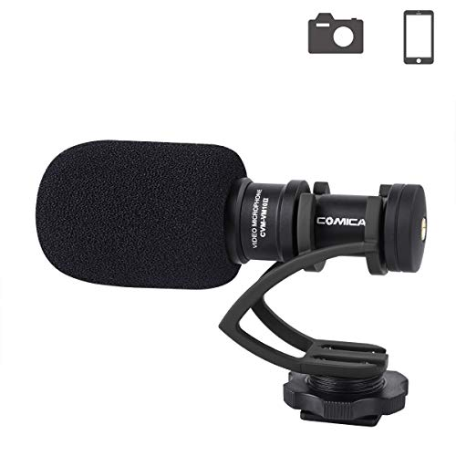 (Comica CVM-VM10IIB Camera Microphone Directional Condenser Shotgun Video Microphone for Canon, Nikon, Sony,Panasonic,Olympus DSLR Cameras,Smartphones(with Wind)