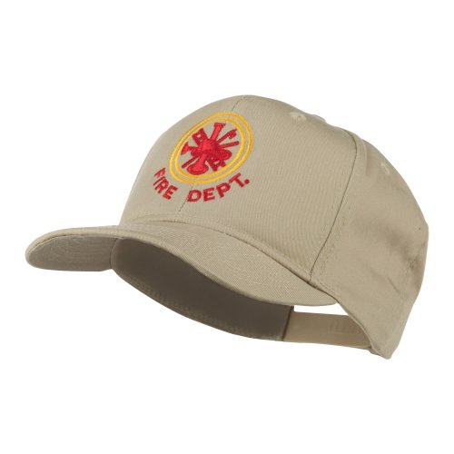 Fire Fighter Dept Symbol Embroidered Cap - Khaki OSFM (Dept Embroidery Fire)